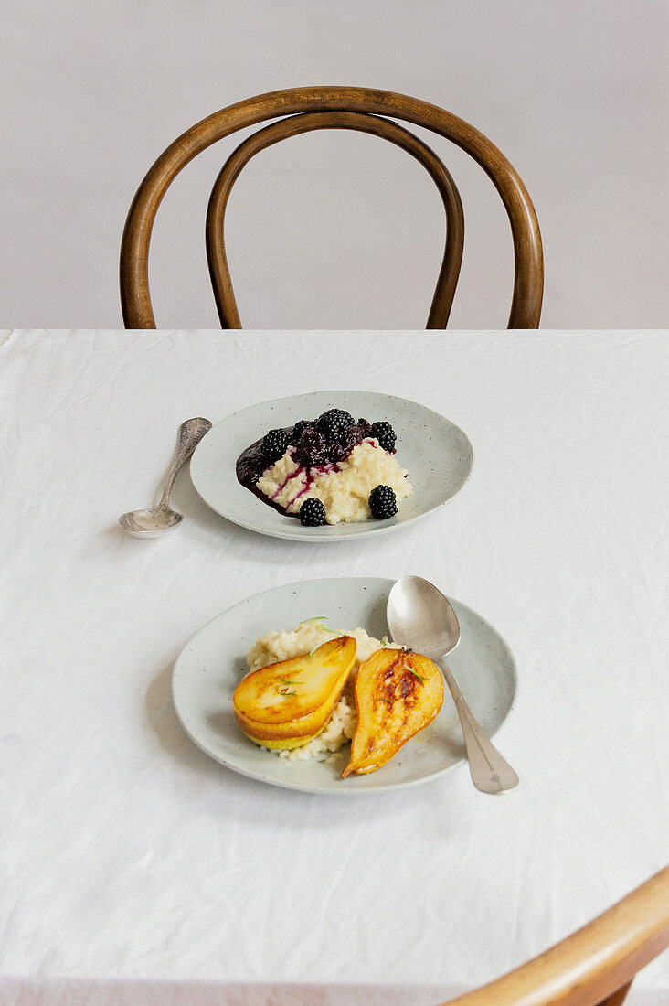 Creamy rice pudding with roasted pear and rice pudding with blackberry compote