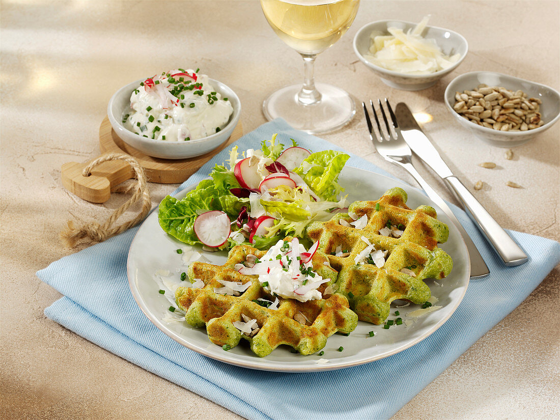 Herb waffles with cream cheese