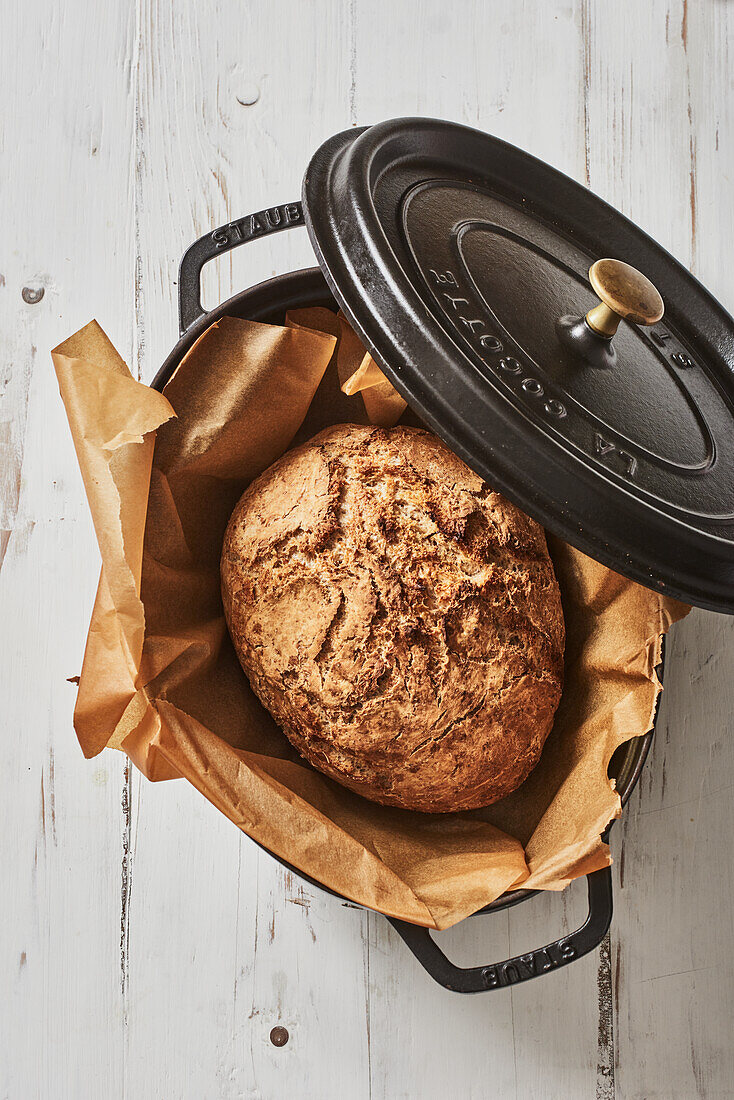 Baked bread in a saucepan