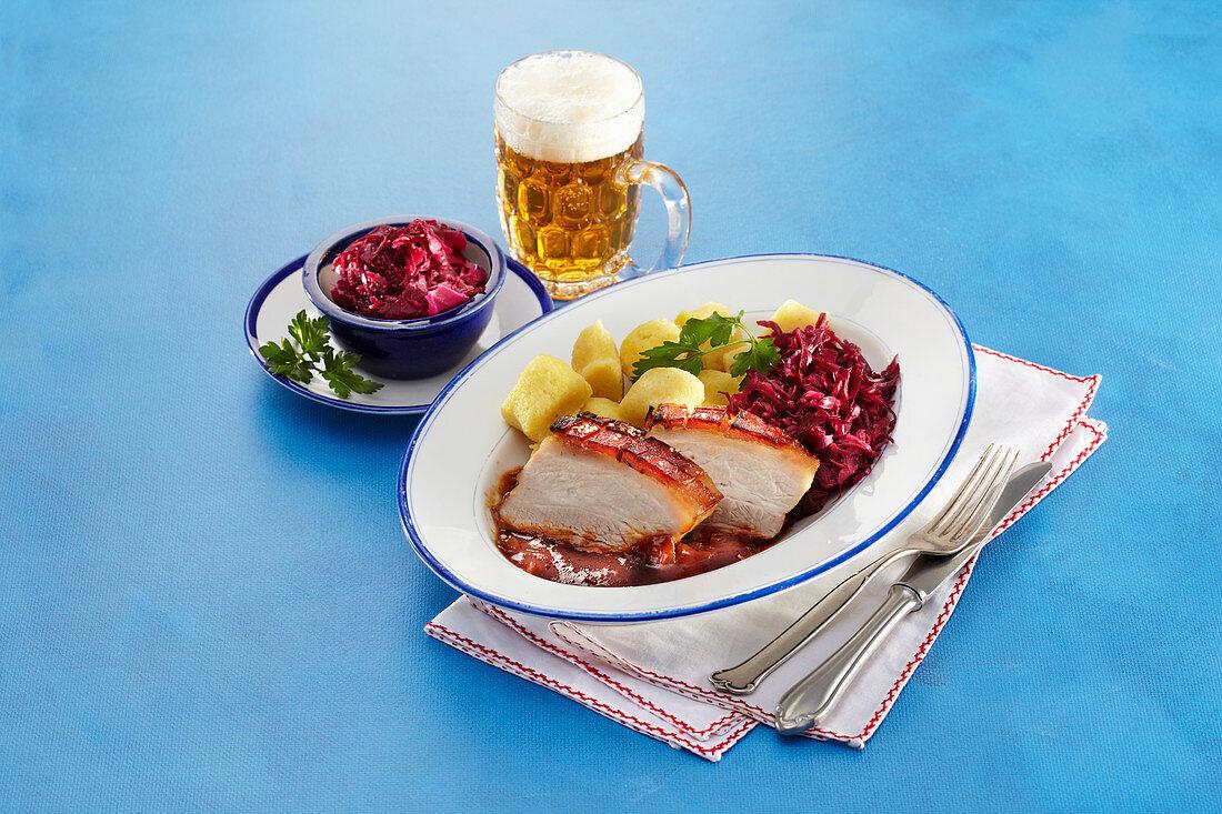 Roasted honey pork on beer