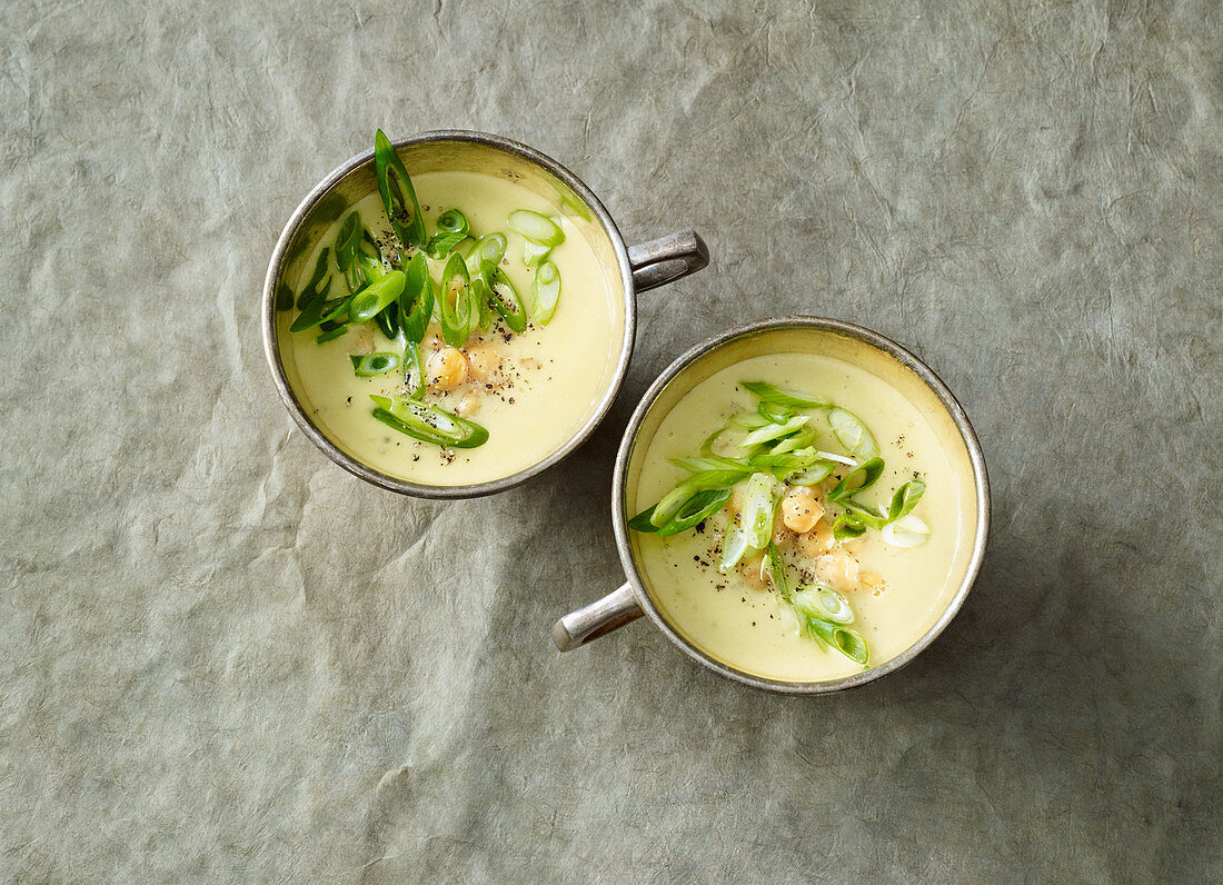 Indian chickpea soup with coconut milk and potatoes