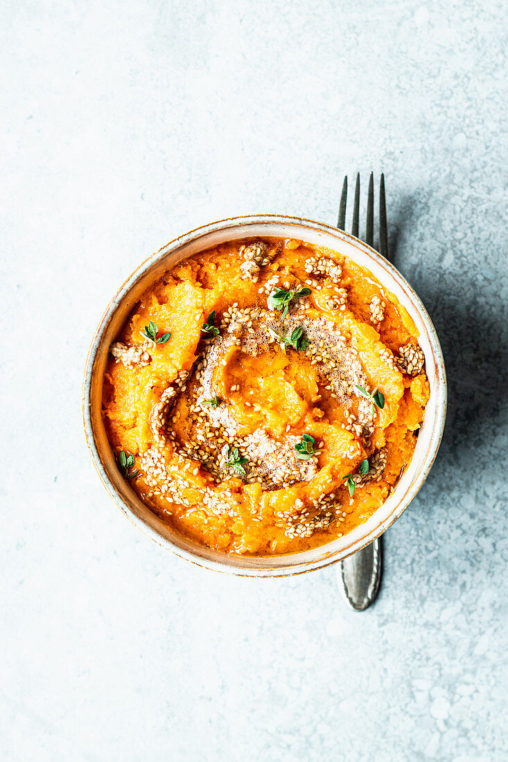 Sweet potato puree with sesame butter and thyme