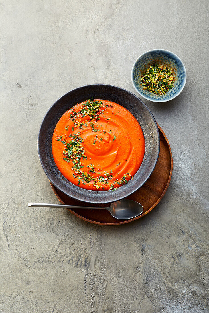 Pepper and bean soup with almond gremolata