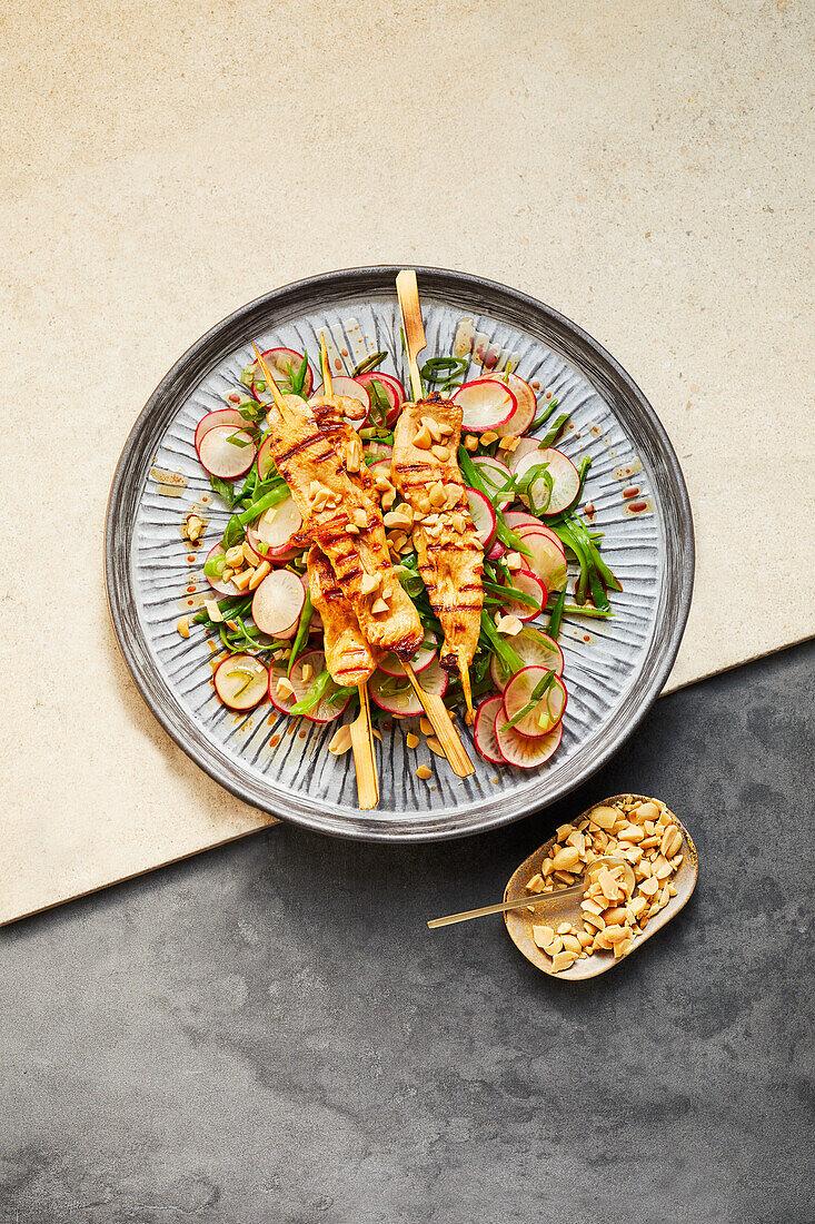 Asian sugar snap salad with chicken satay