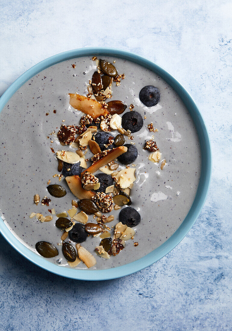 Blue Mermaid Bowl with blueberries and coconut chips