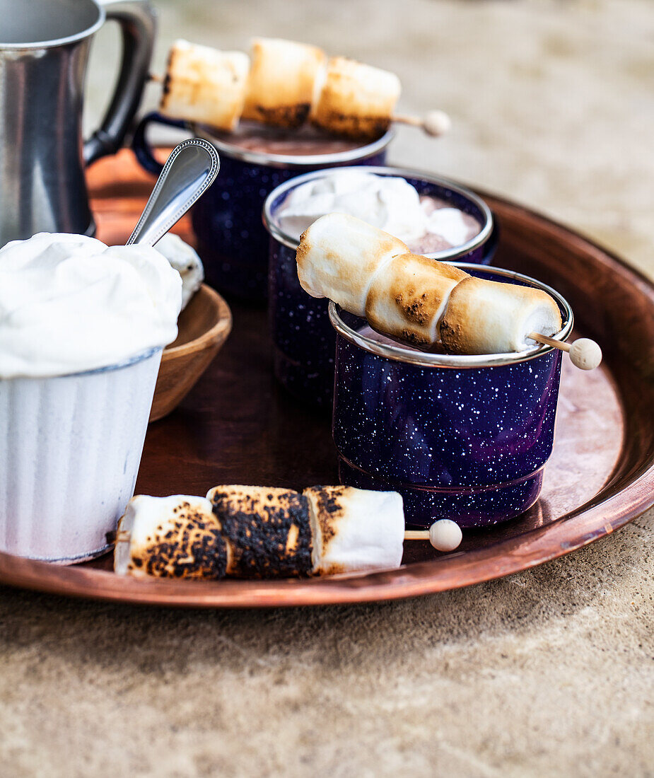 Enamel mugs of hot chocolate, whipped cream, and skewers of roasted marshmallows