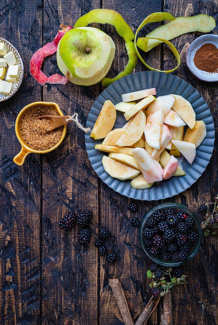 Ingredients for apple blackberry crumble