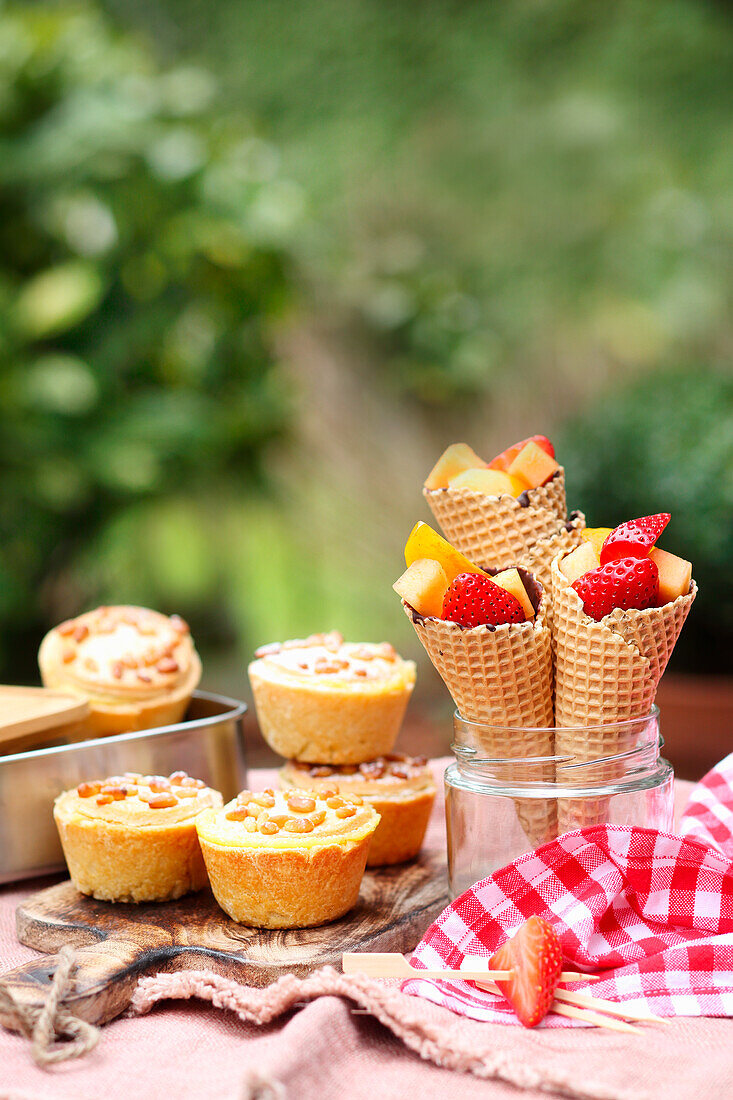 Torta della Nonna cakes and filled fruit waffles