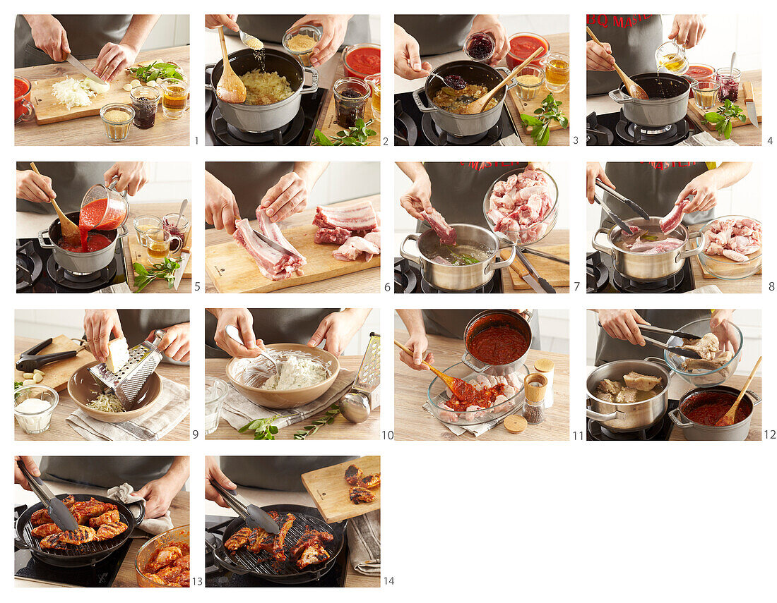 BBQ chicken wings and pork chops with blue cheese dip - steps by step