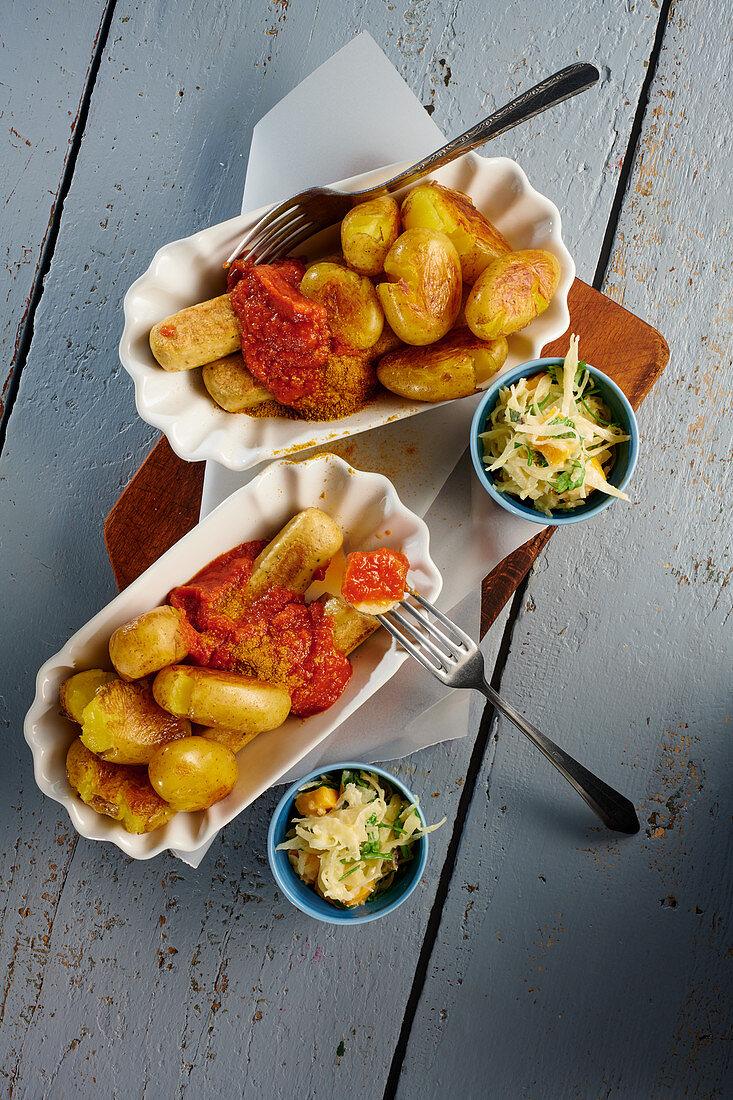 Veggie curried sausage with potatoes and mango raw-slaw
