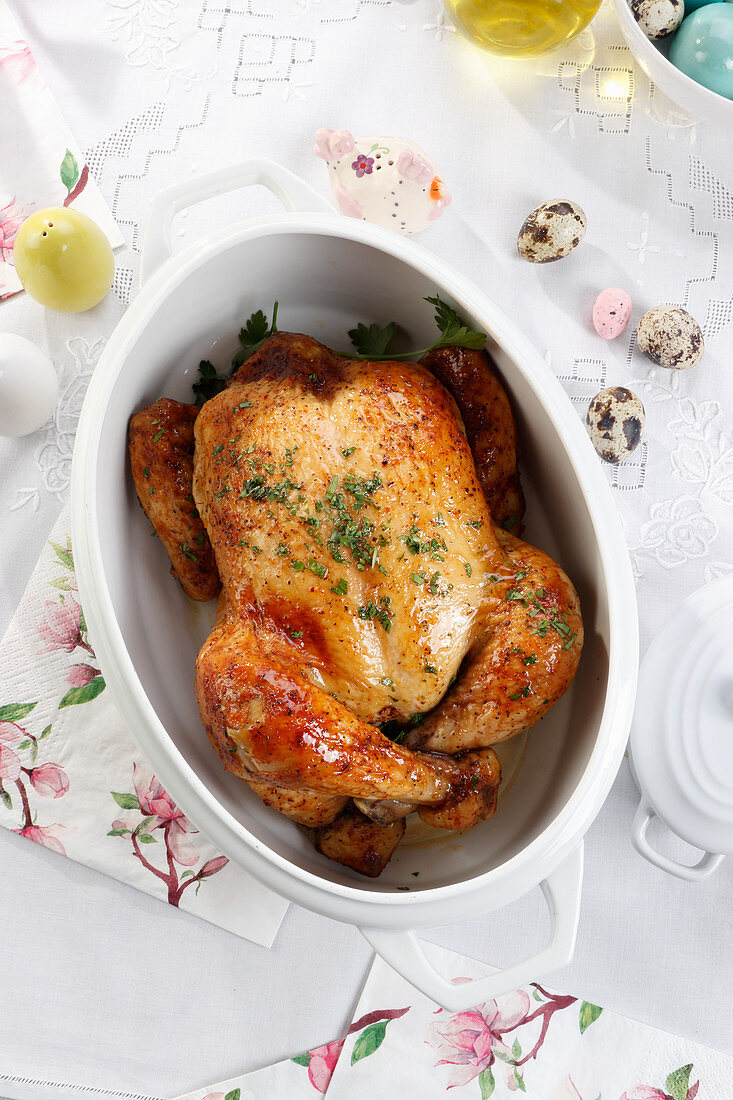 Roasted chicken in the Easter arrangement