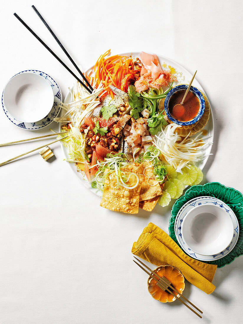 Chinese new year raw fish salad