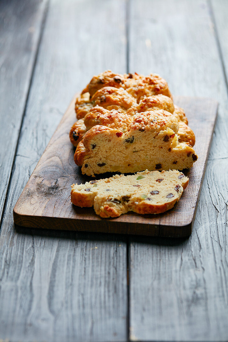 Easter fruit bread on a chopping board