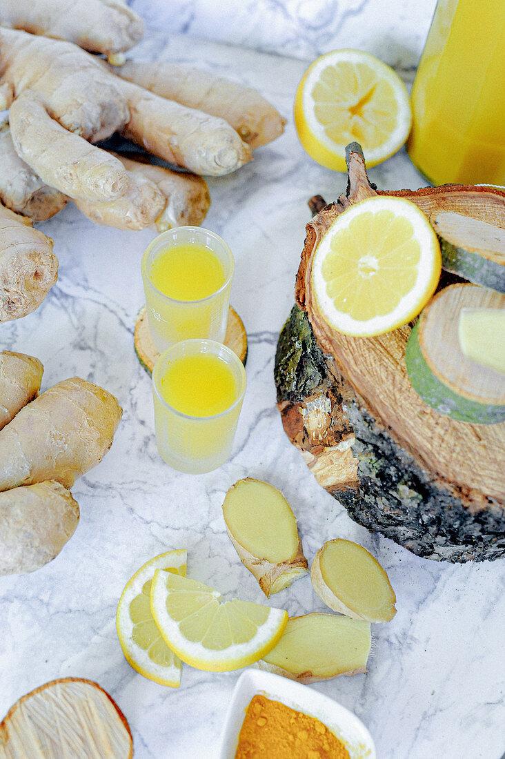Lemon shot with ginger and turmeric