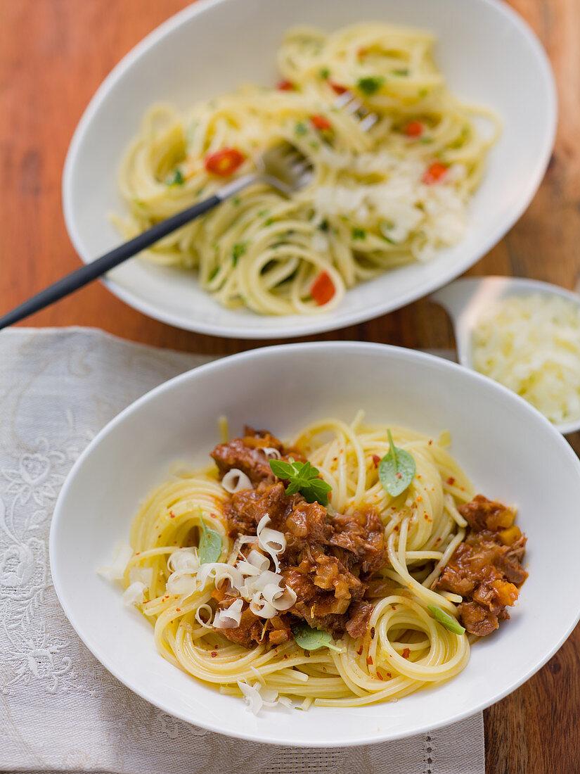 Spaghetti Bavarese mit Almkäse