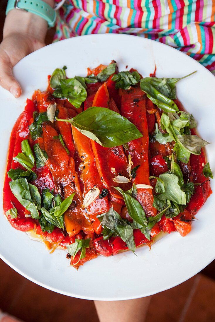 Roasted red bell pepper and basil salad