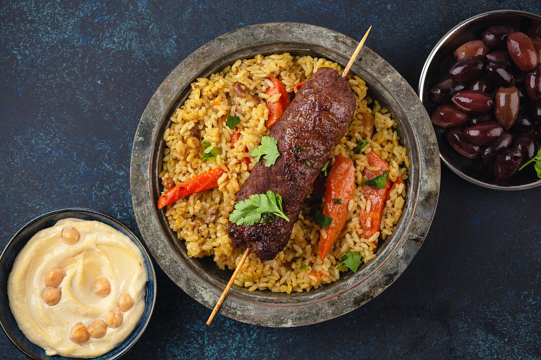 Traditional Middle Eastern meat Kebab with rice