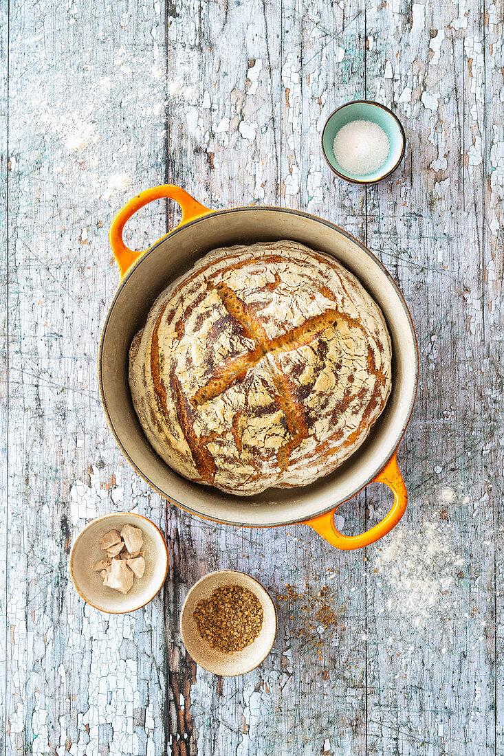 No-knead pot bread (vegan)