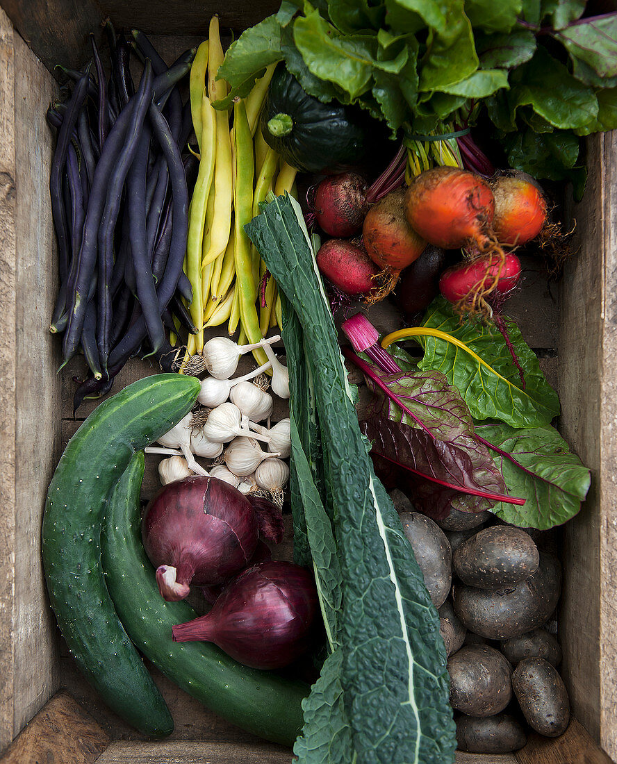 A wooden crate of fresh vegetables