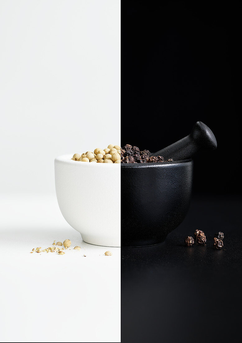 Black and white pepper