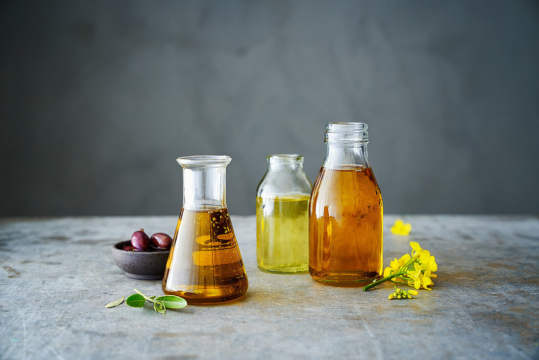Olive oil, rapeseed oil and sunflower oil