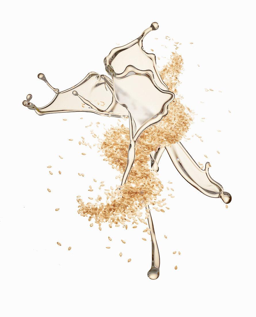 Sesame seeds and a splash of sesame seed oil