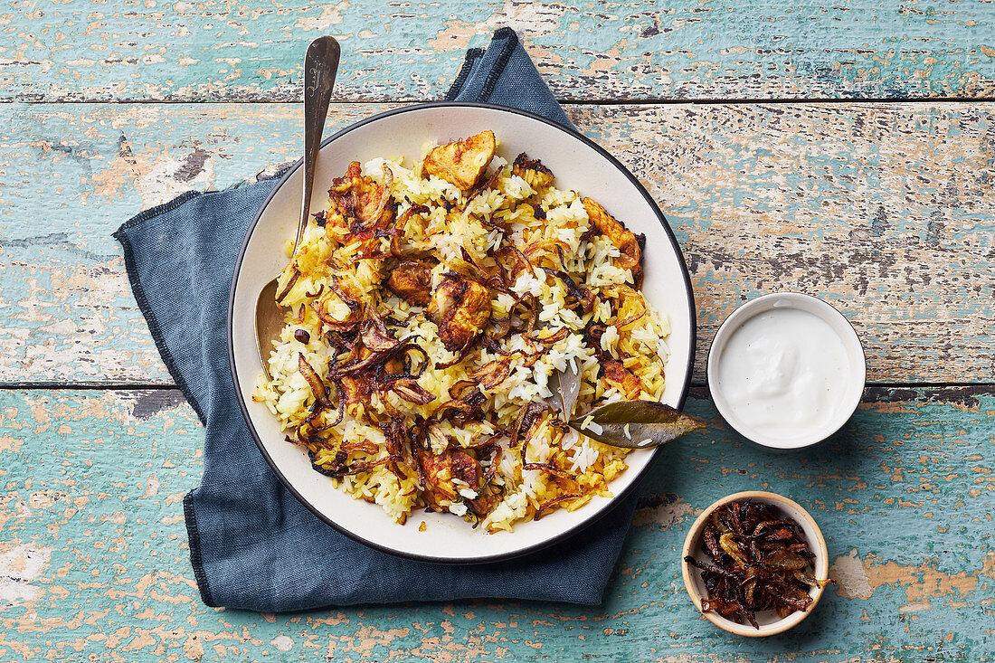 Indian rice dish hyderabadi biryani with chicken and basmati rice
