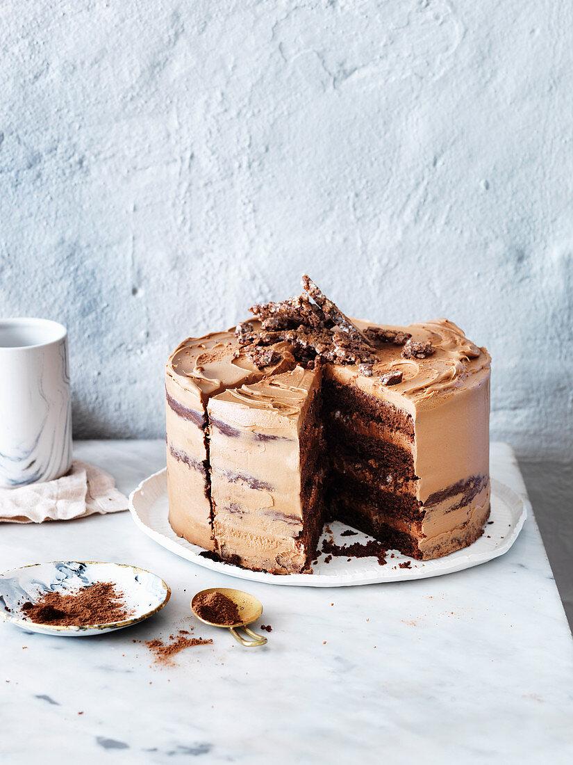 Triple-Chocolate Crackle Crunch Cake