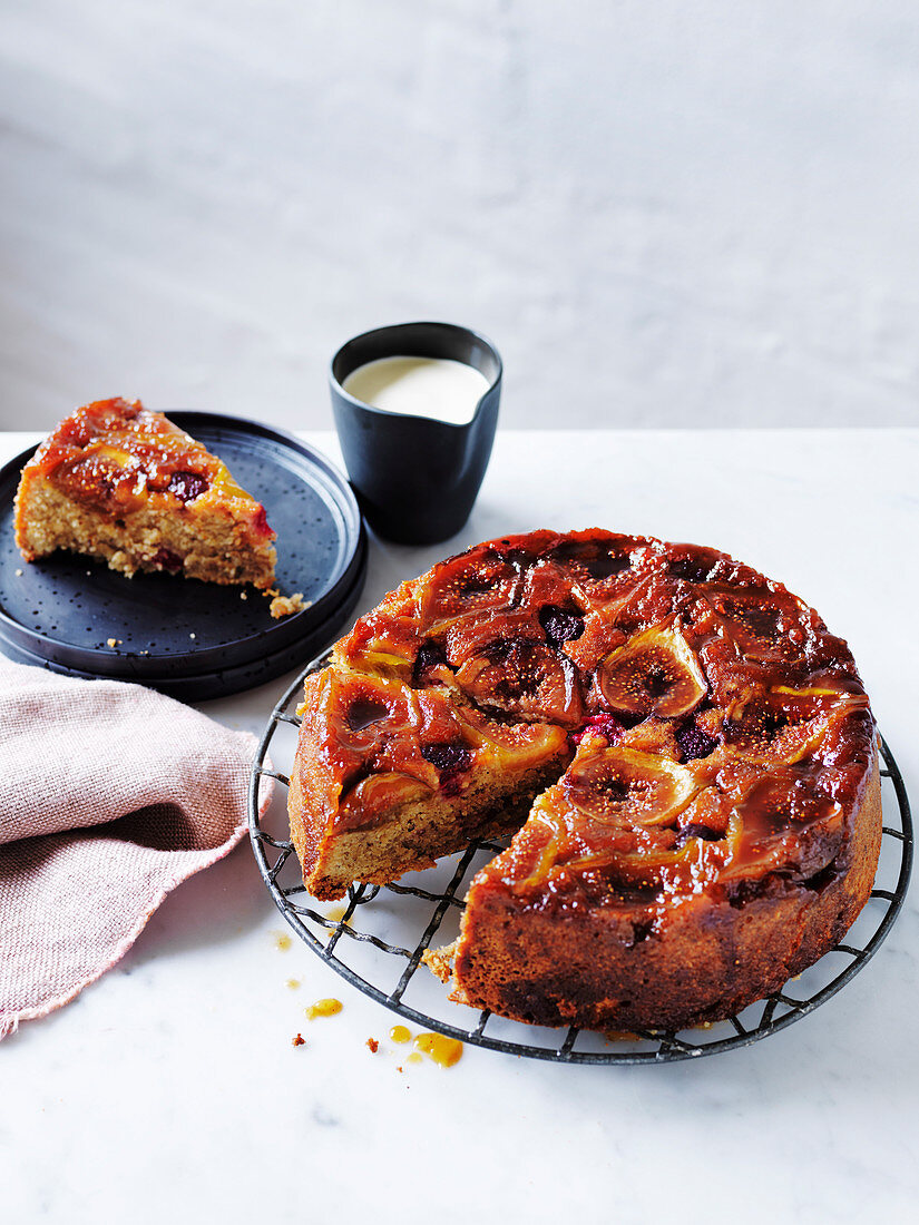 Fig and Raspberry Upside-Down Linzer Cake
