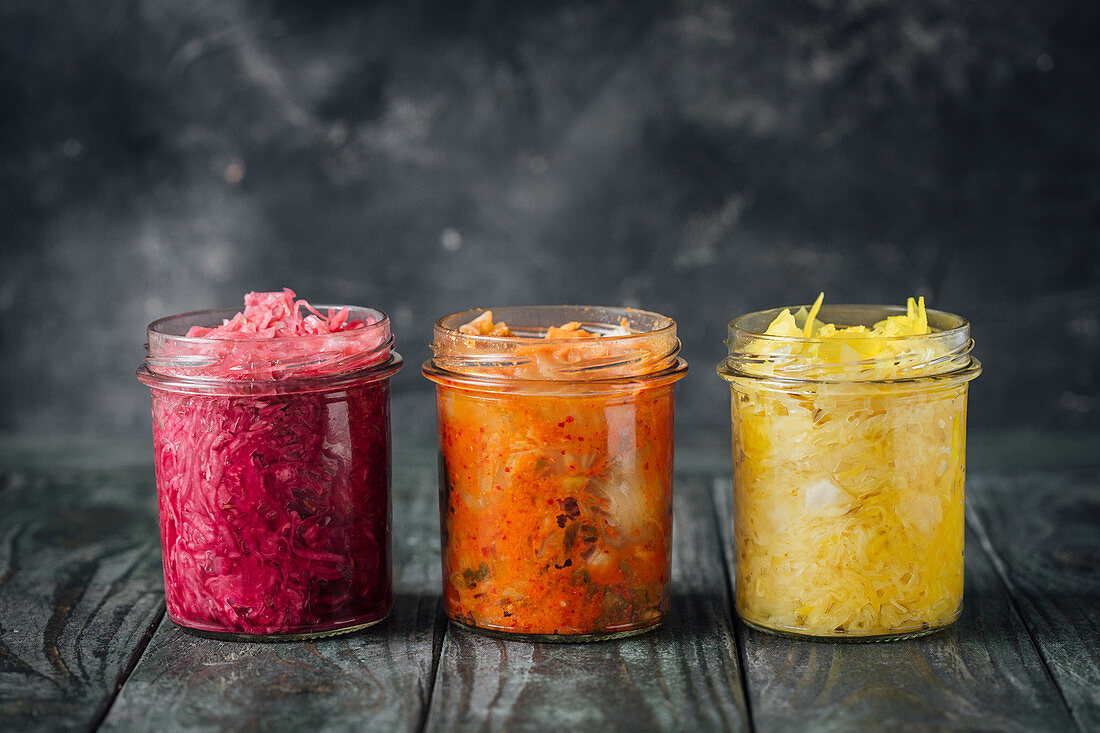 Kimchi, cabbage with turmeric and cumin, cabbage with beetroot and fennel
