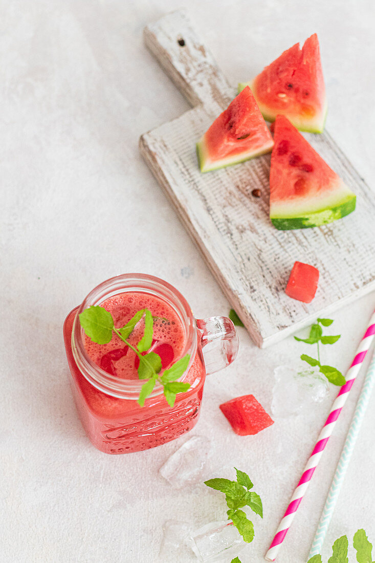 Watermelon and mint lemonade