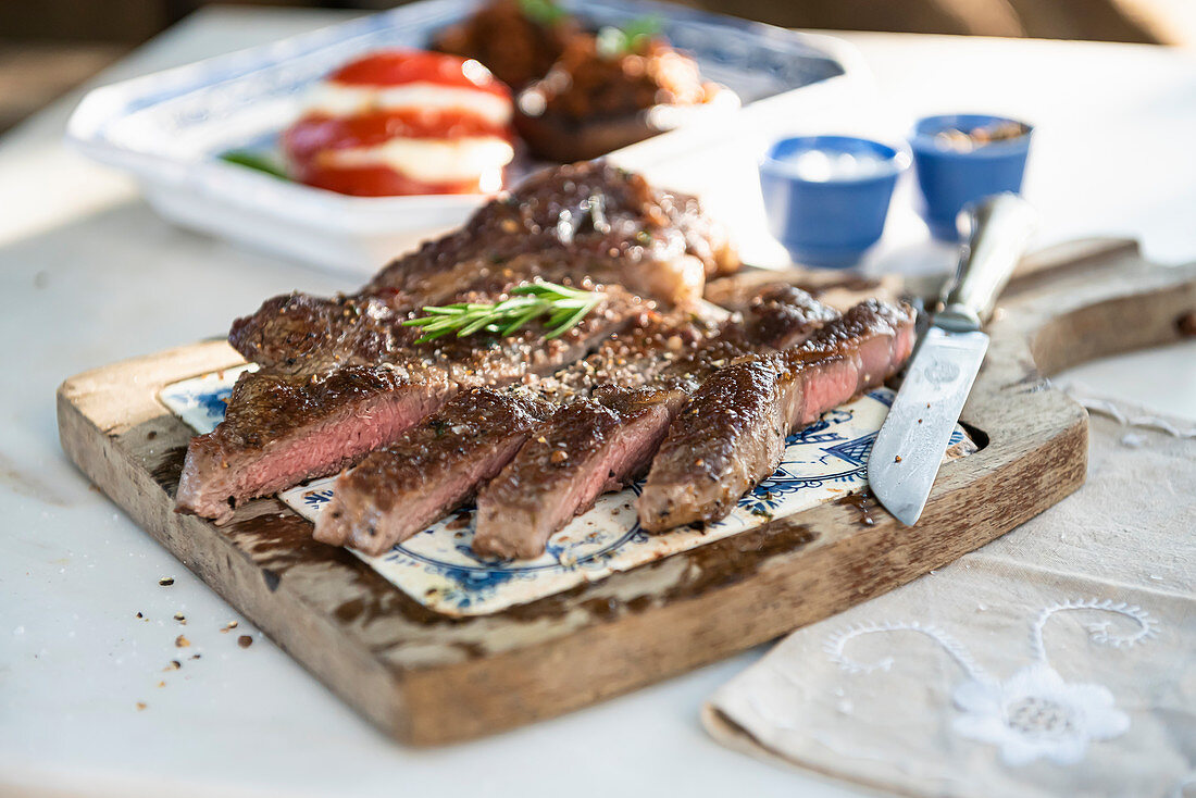 Cut grilled beef steak
