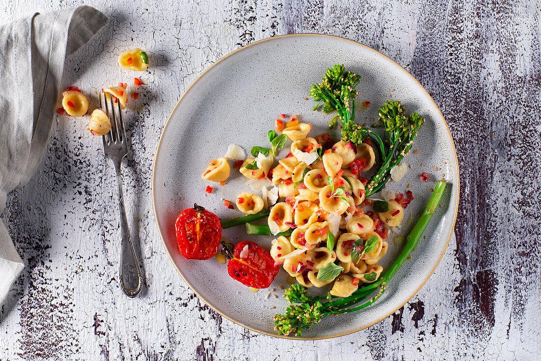 Orecchiette with bimi (broccolini) and roasted tomatoes
