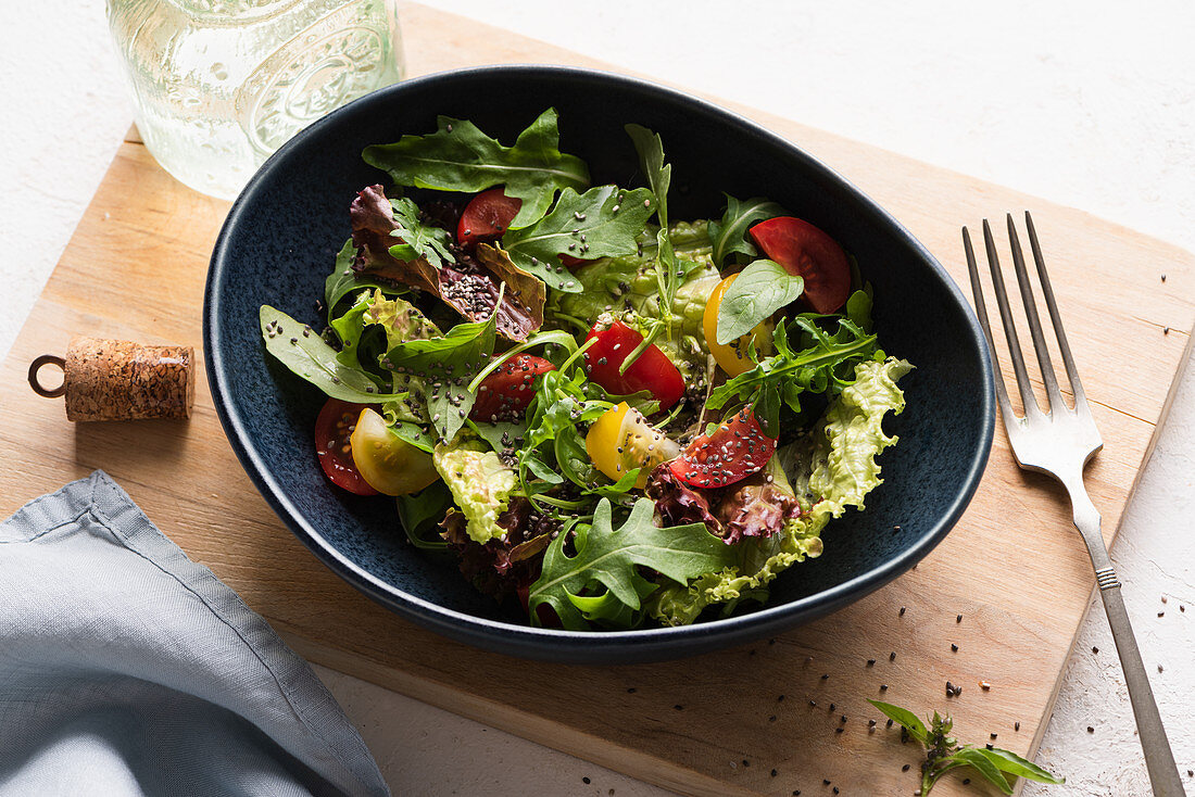 Summer vegetable salad with olive oil chia seeds