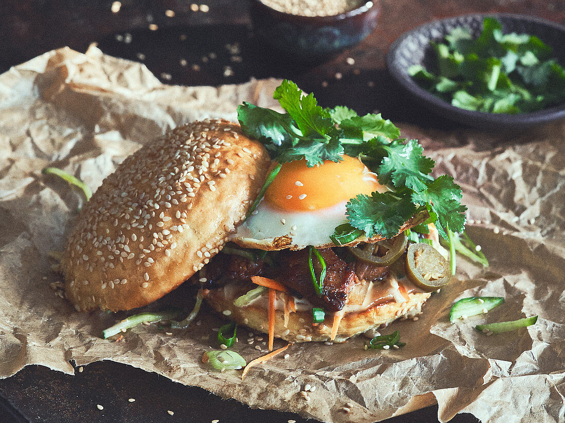 Banh Mi burger with a fried egg