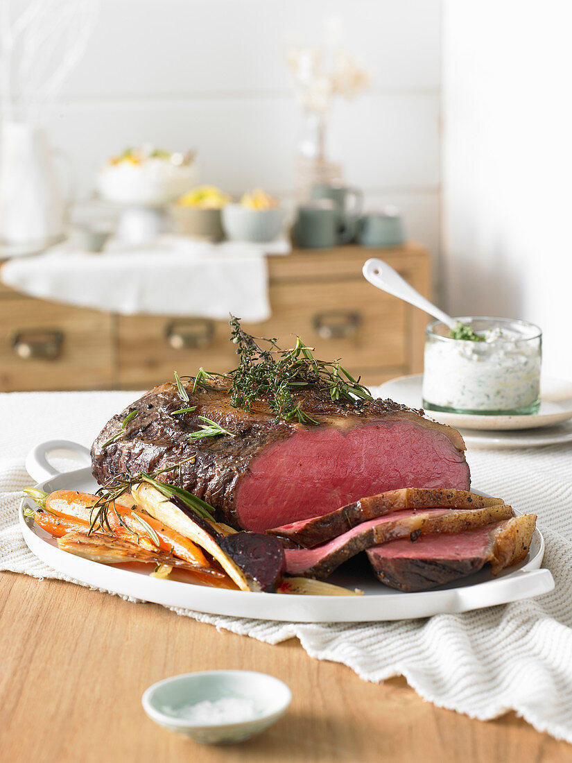 Roast beef with roasted vegetables