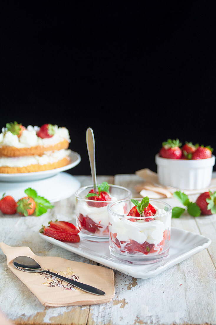 Fresh cream with strawberries for breakfast