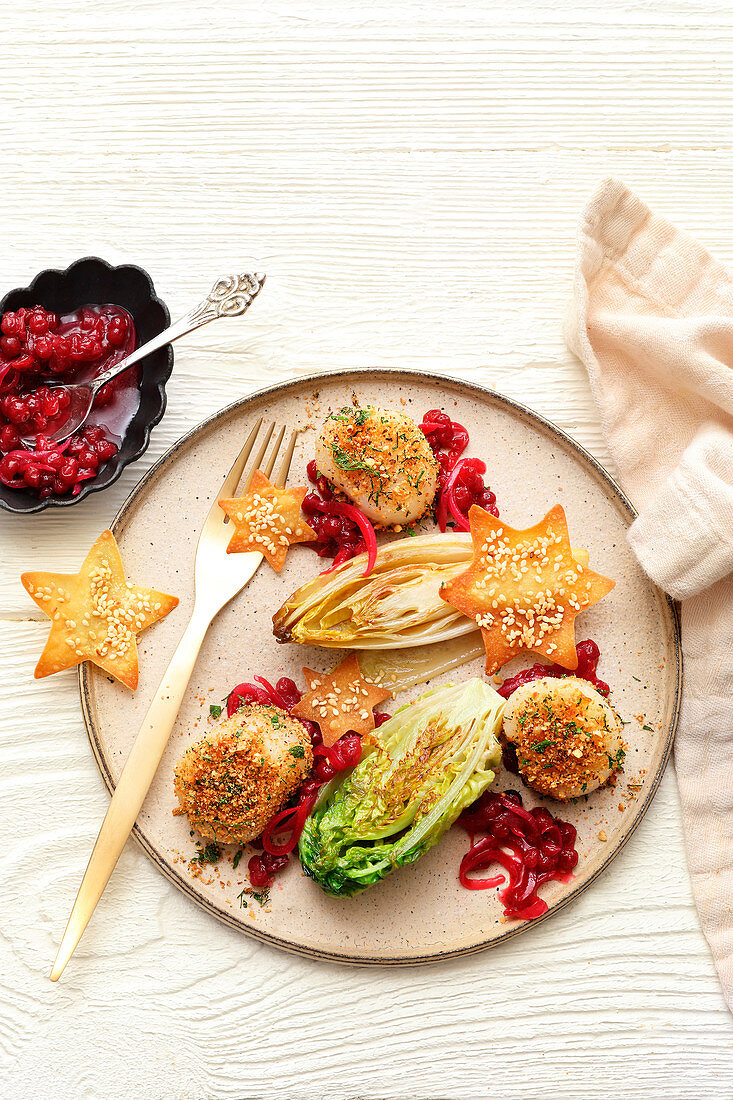 Scallops with roasted Chicory