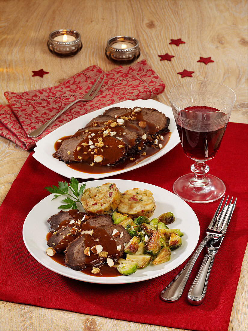 Braised beef with Brussels sprouts and bacon dumplings