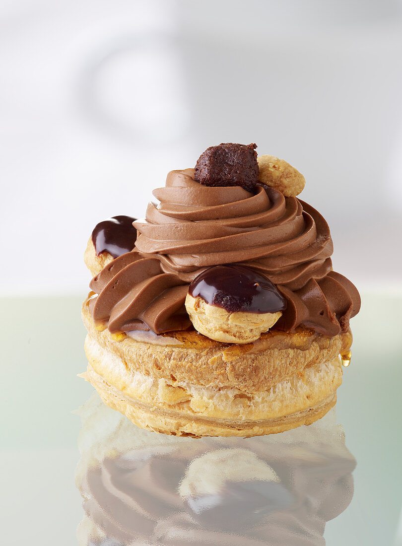 Saint Honore with chocolate cream