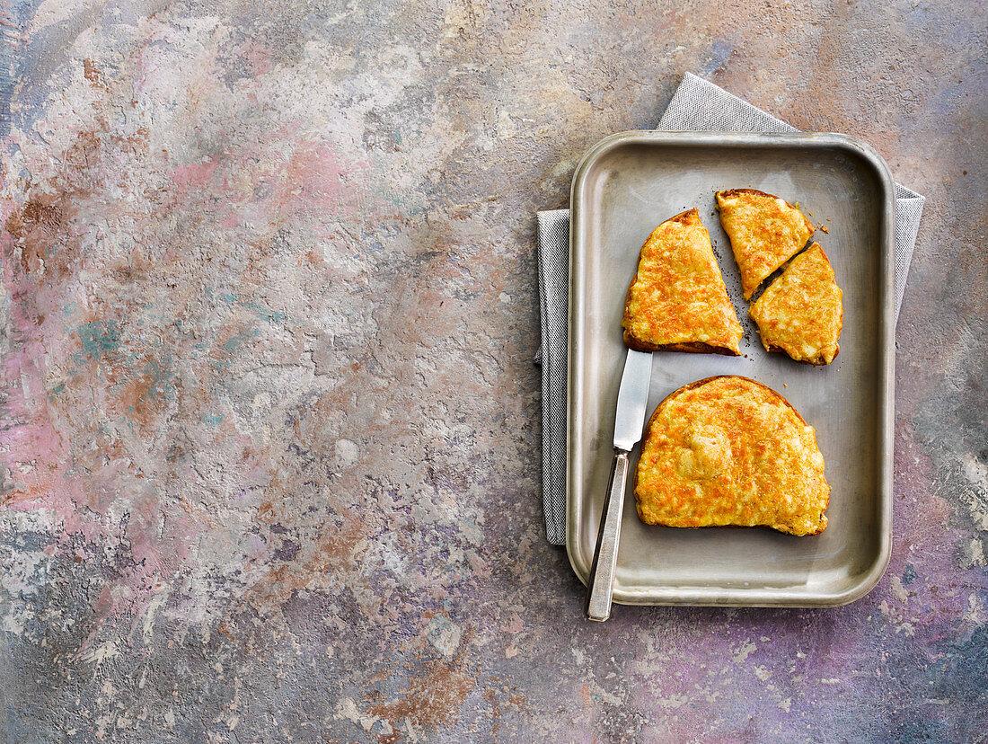 Tasty Lancashire cheese on toast