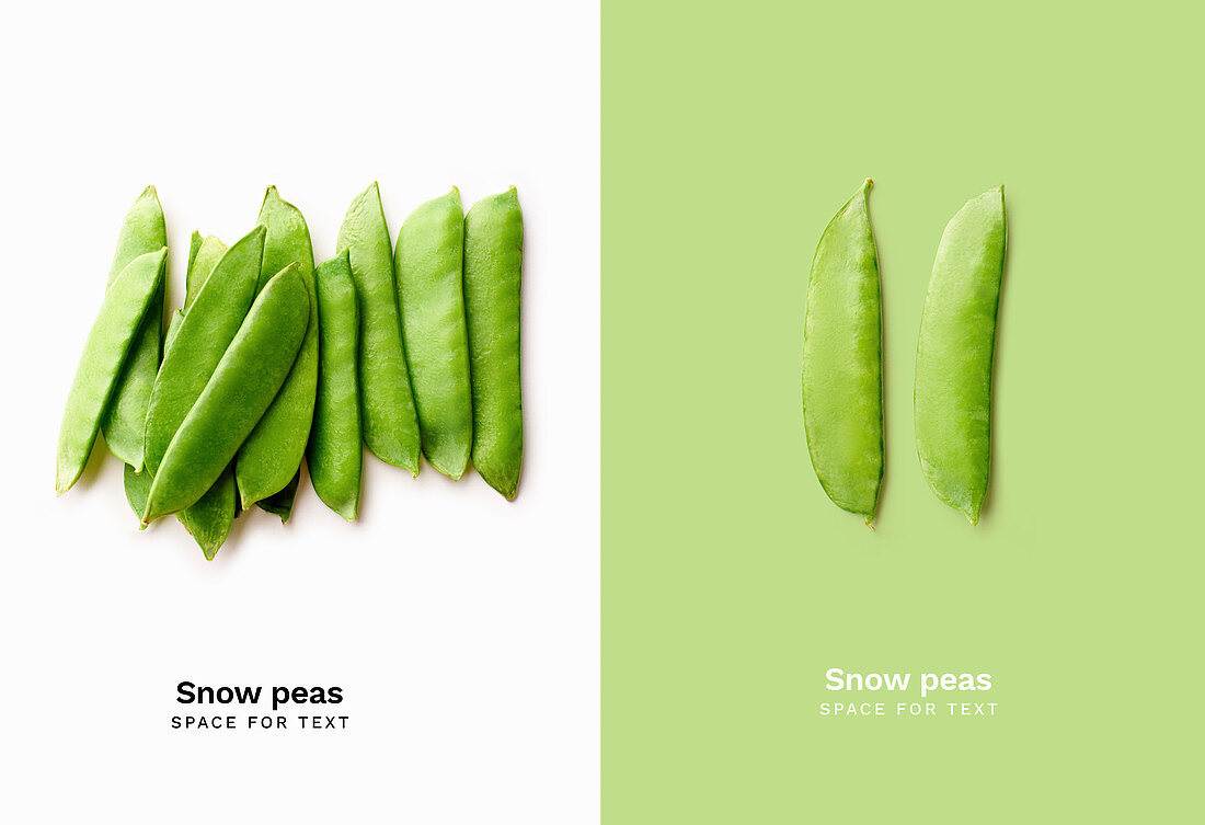 Top view image of fresh thin snow peas isolated on white background