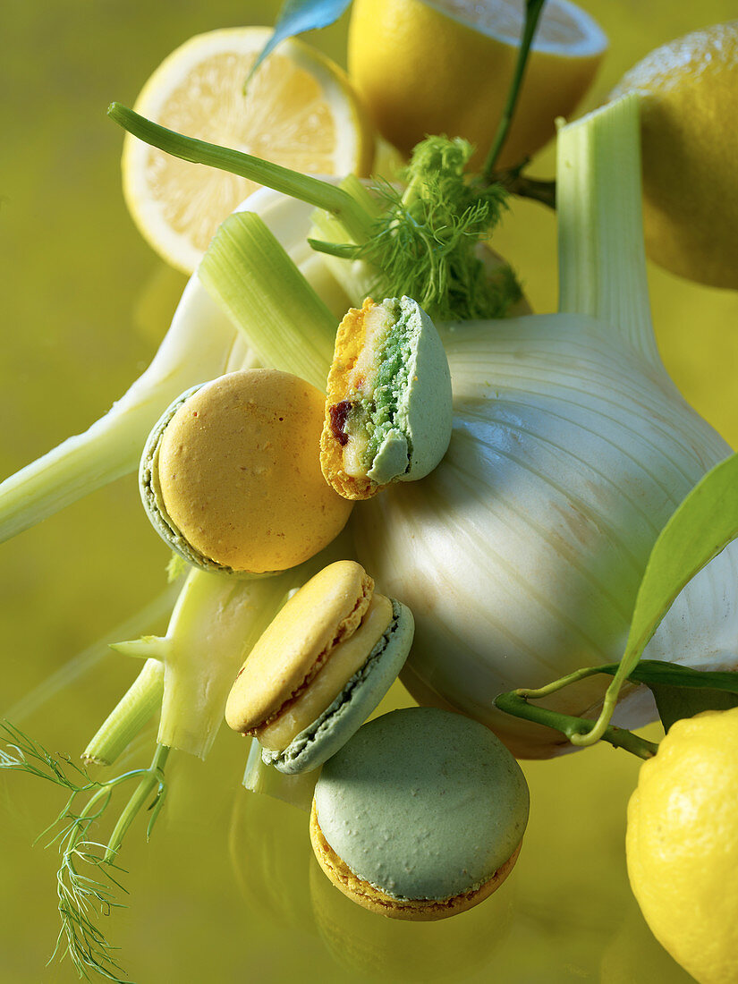 Macarons with fennel and lemon