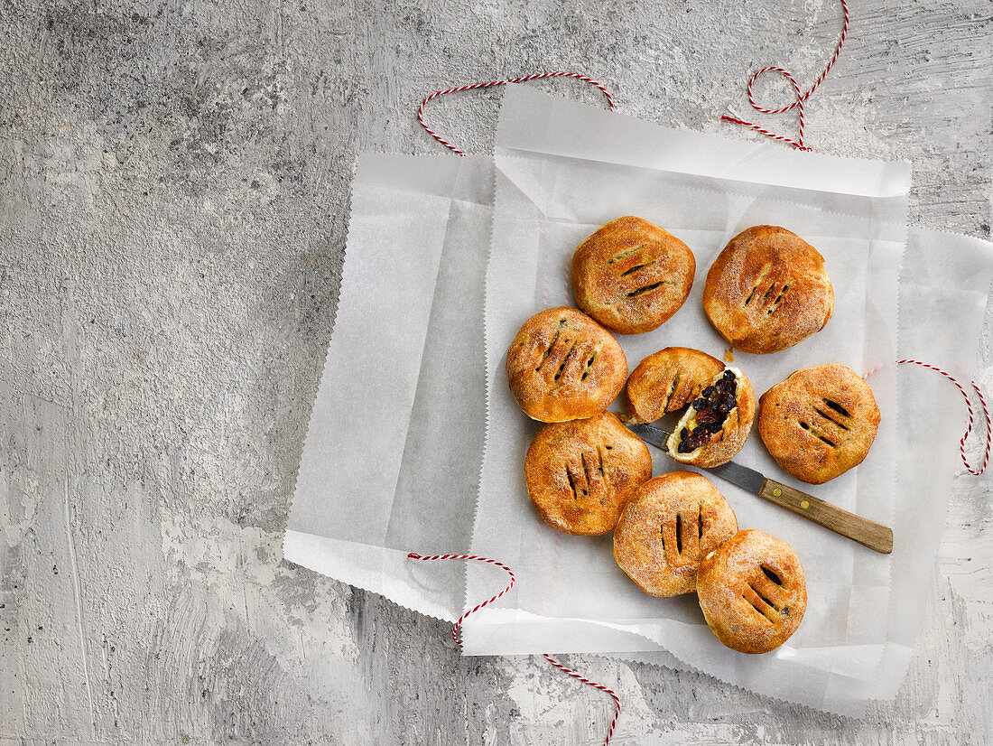 Eccles Cakes (Puff Pastry with Raisin Filling, England)