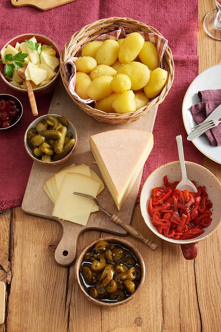 Vegetarian ingredients for raclette