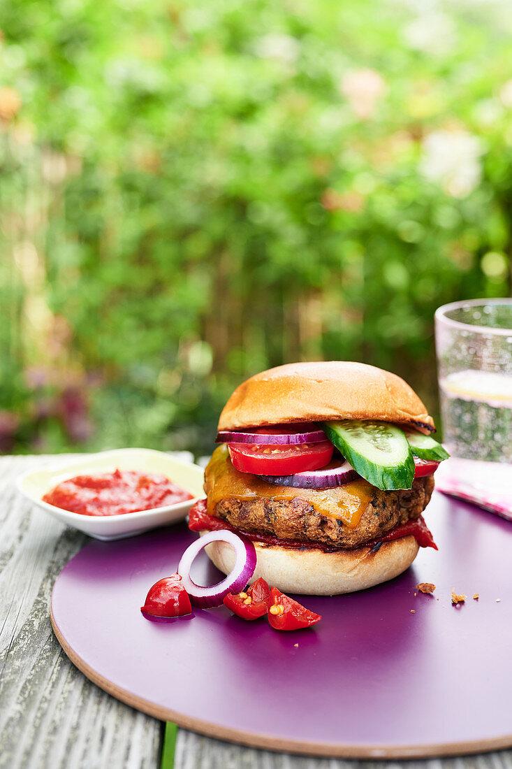 Pilz-Burger mit Paprika-Ketchup