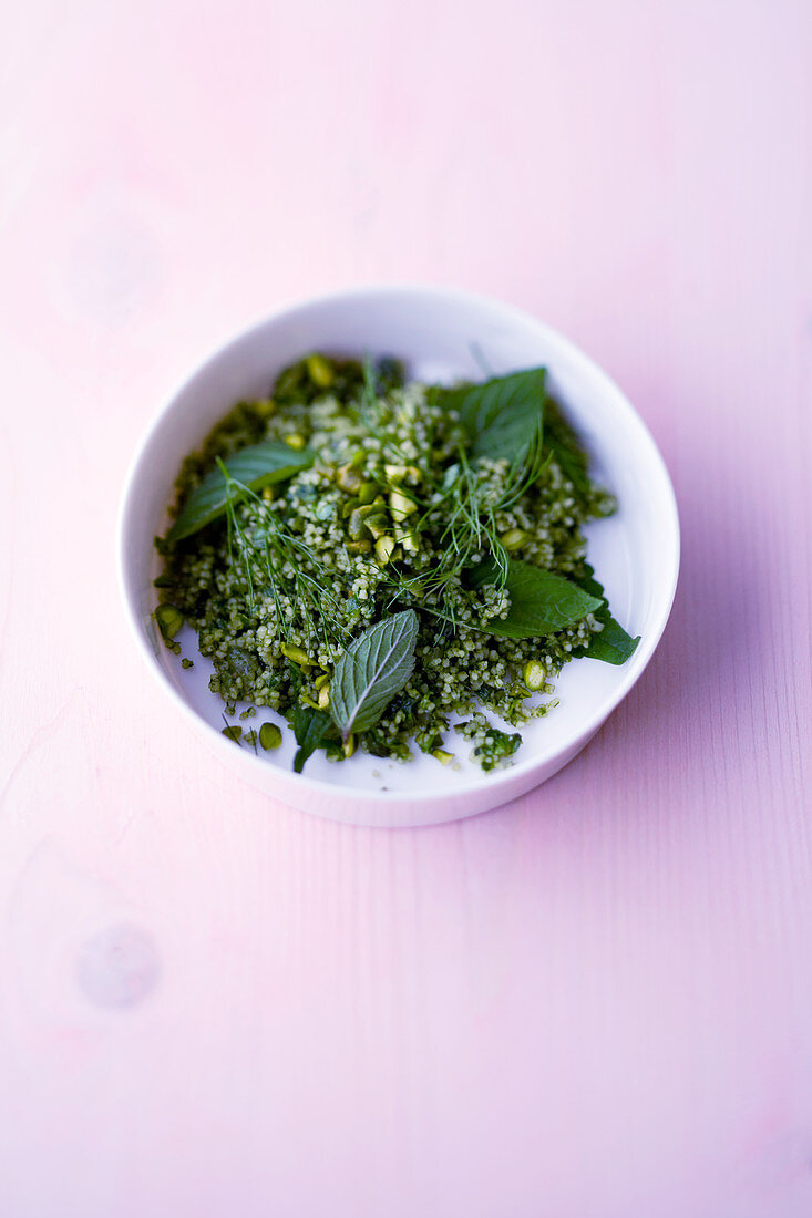 Pistachio tabbouleh with mint and ajwain