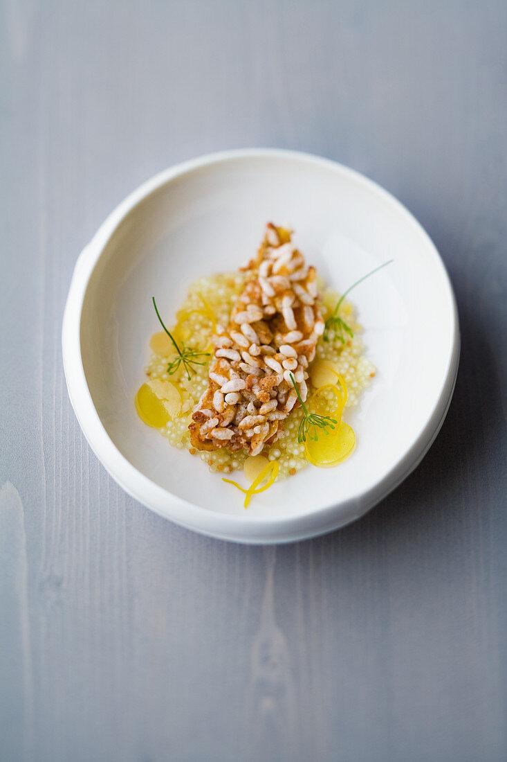Egli rice tempura with mustard seed tapioca