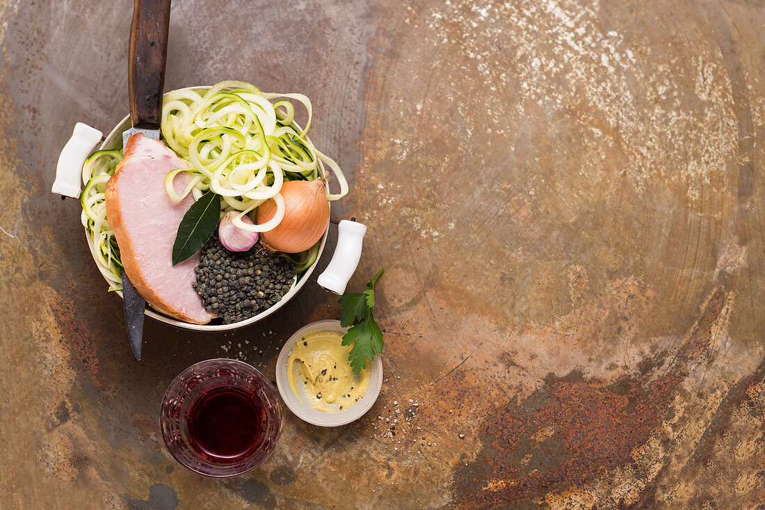 Ingredients for smoked pork with puy lentils and zoodles