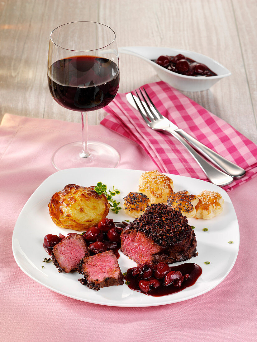 Fillet steak with coffee crust, potato muffin and puff pastry